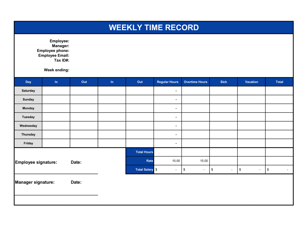 Business-in-a-Box's Time Sheet Template
