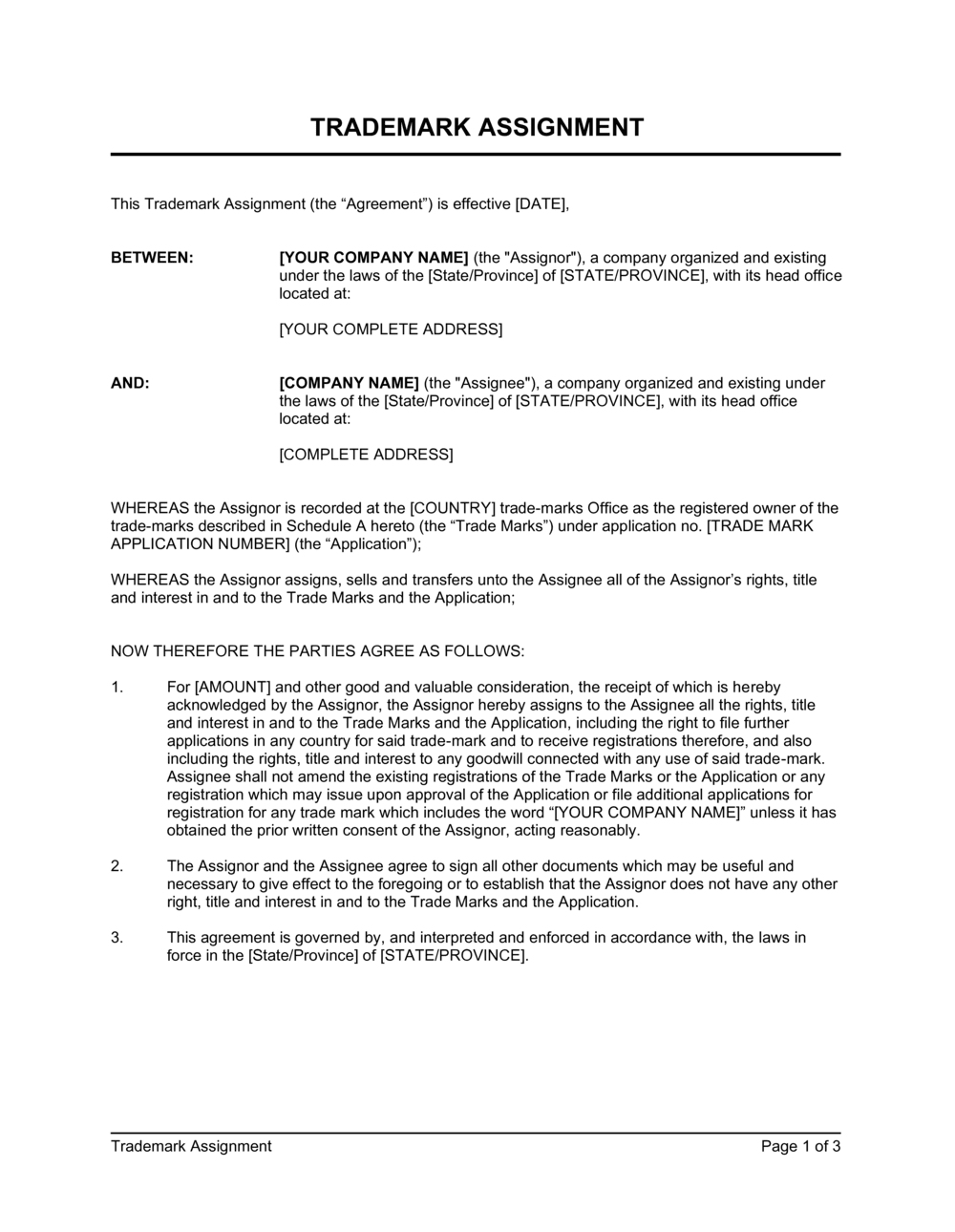 Business-in-a-Box's Trademark Assignment Short Form Template