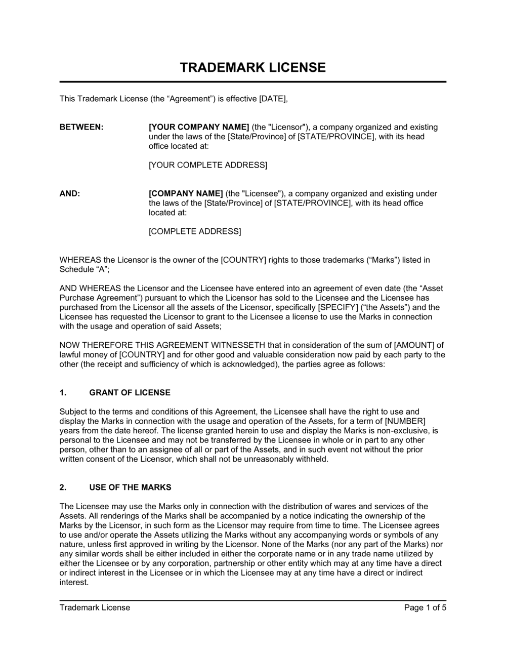 Business-in-a-Box's Trademark License Template