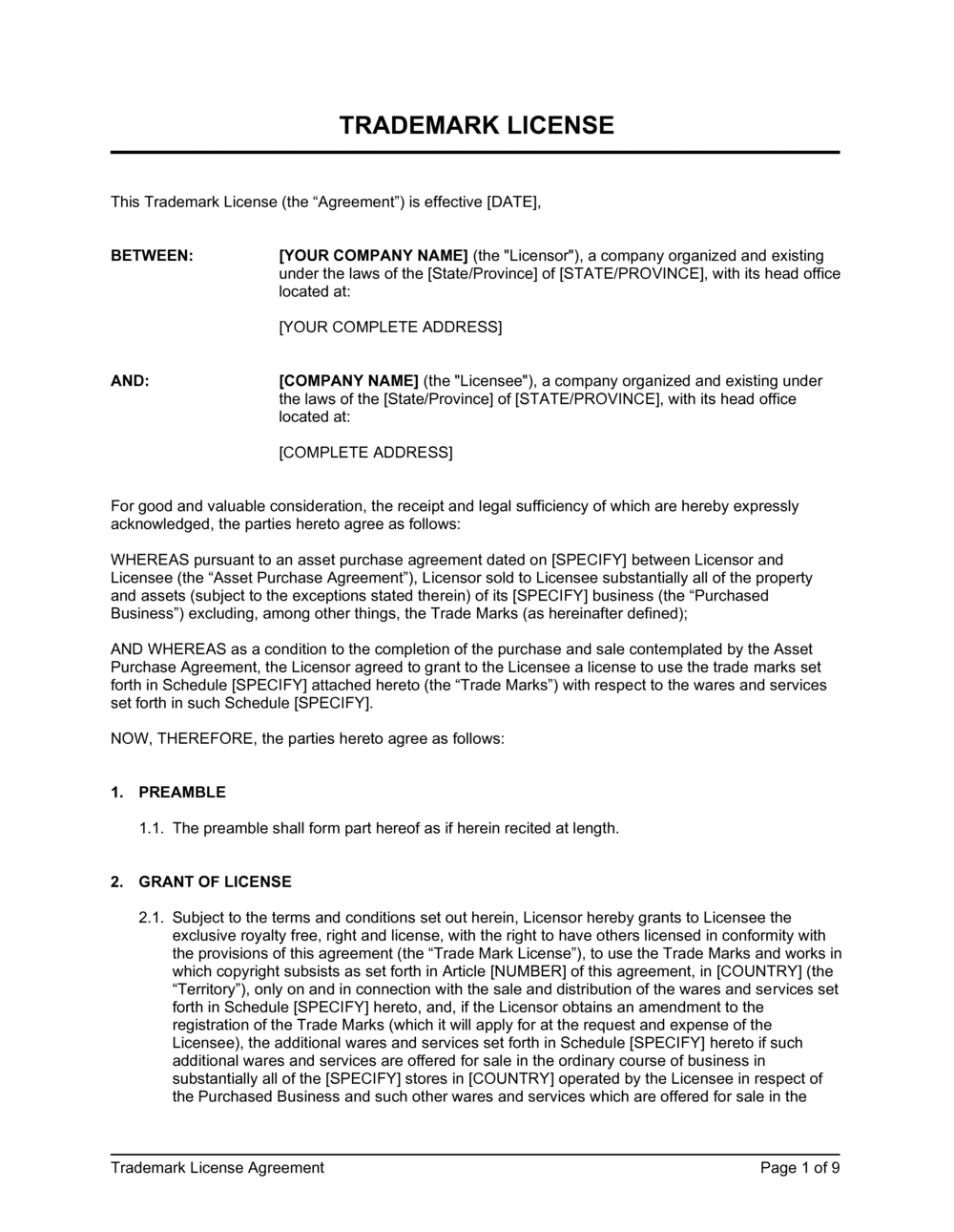 Business-in-a-Box's Trademark License Agreement Template