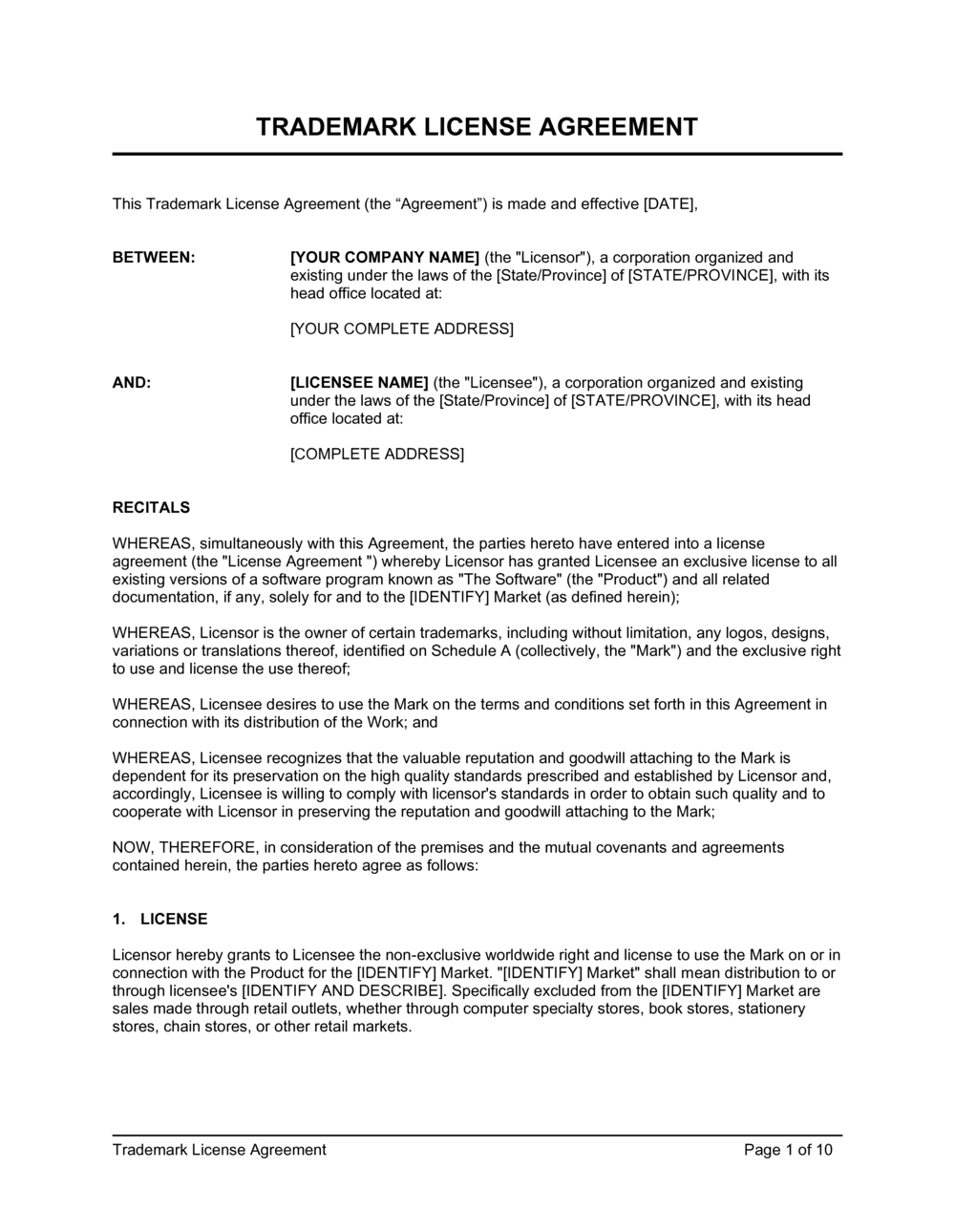Business-in-a-Box's Trademark License Agreement For Software Template