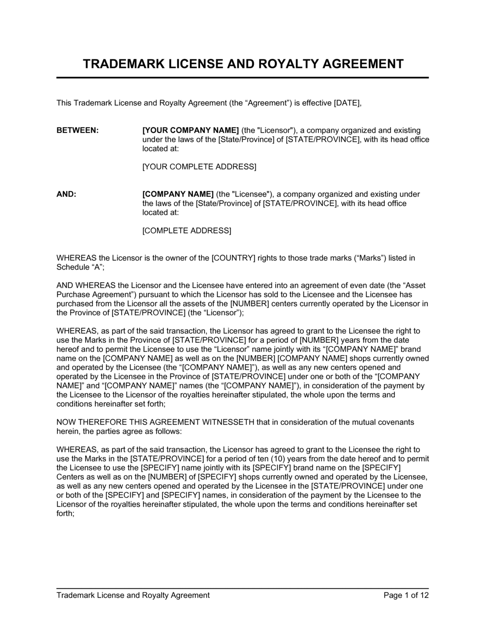 Business-in-a-Box's Trademark License and Royalty Agreement Template