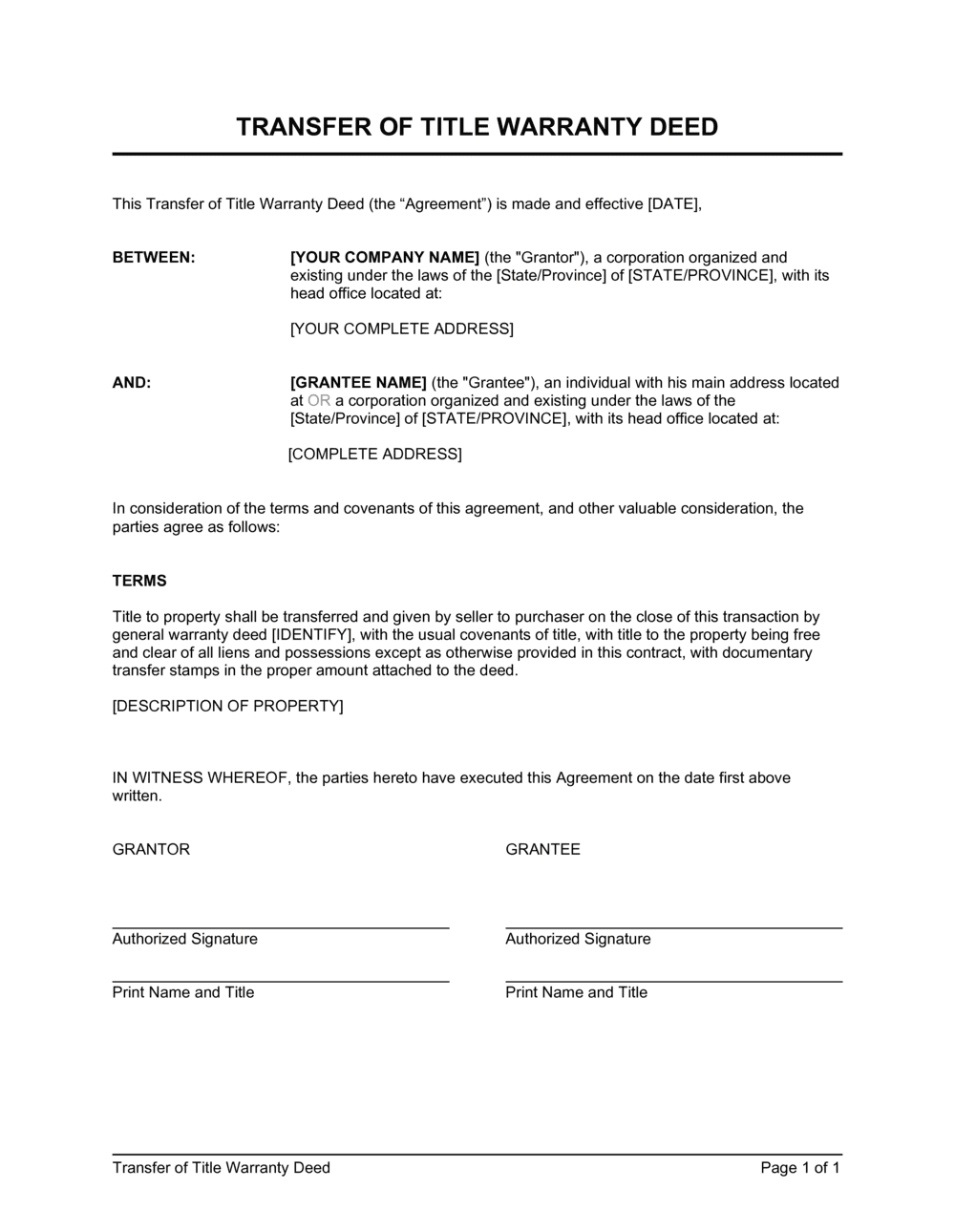 Business-in-a-Box's Transfer of Title Warranty Deed Template