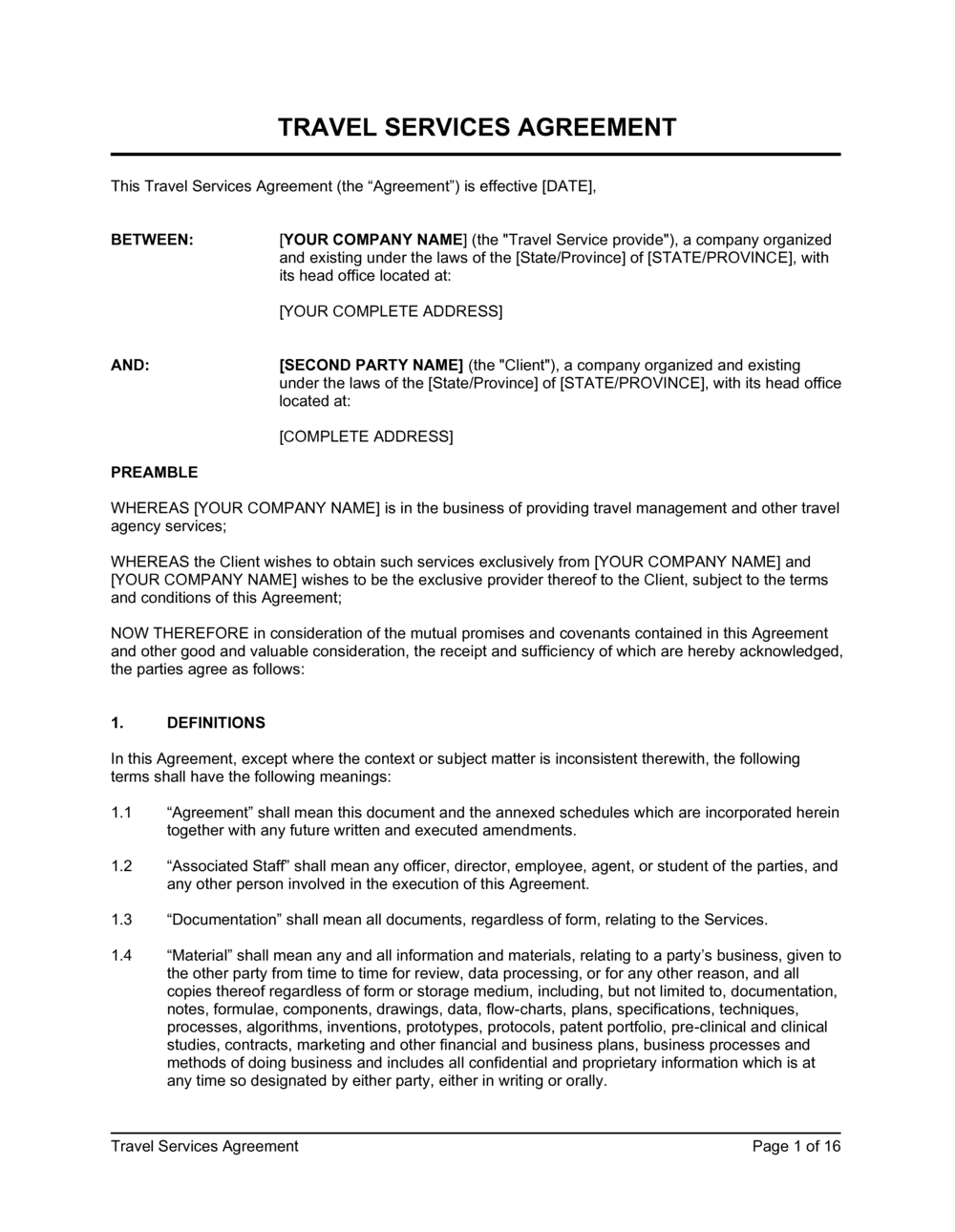 Business-in-a-Box's Travel Services Agreement Template