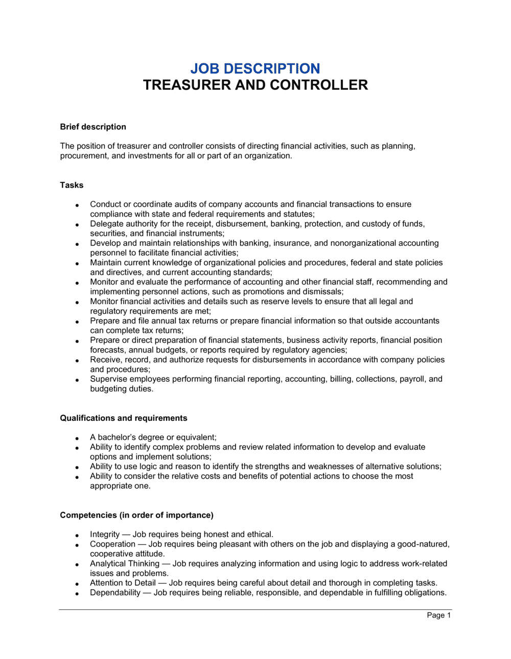 Business-in-a-Box's Treasurer and Controller Job Description Template