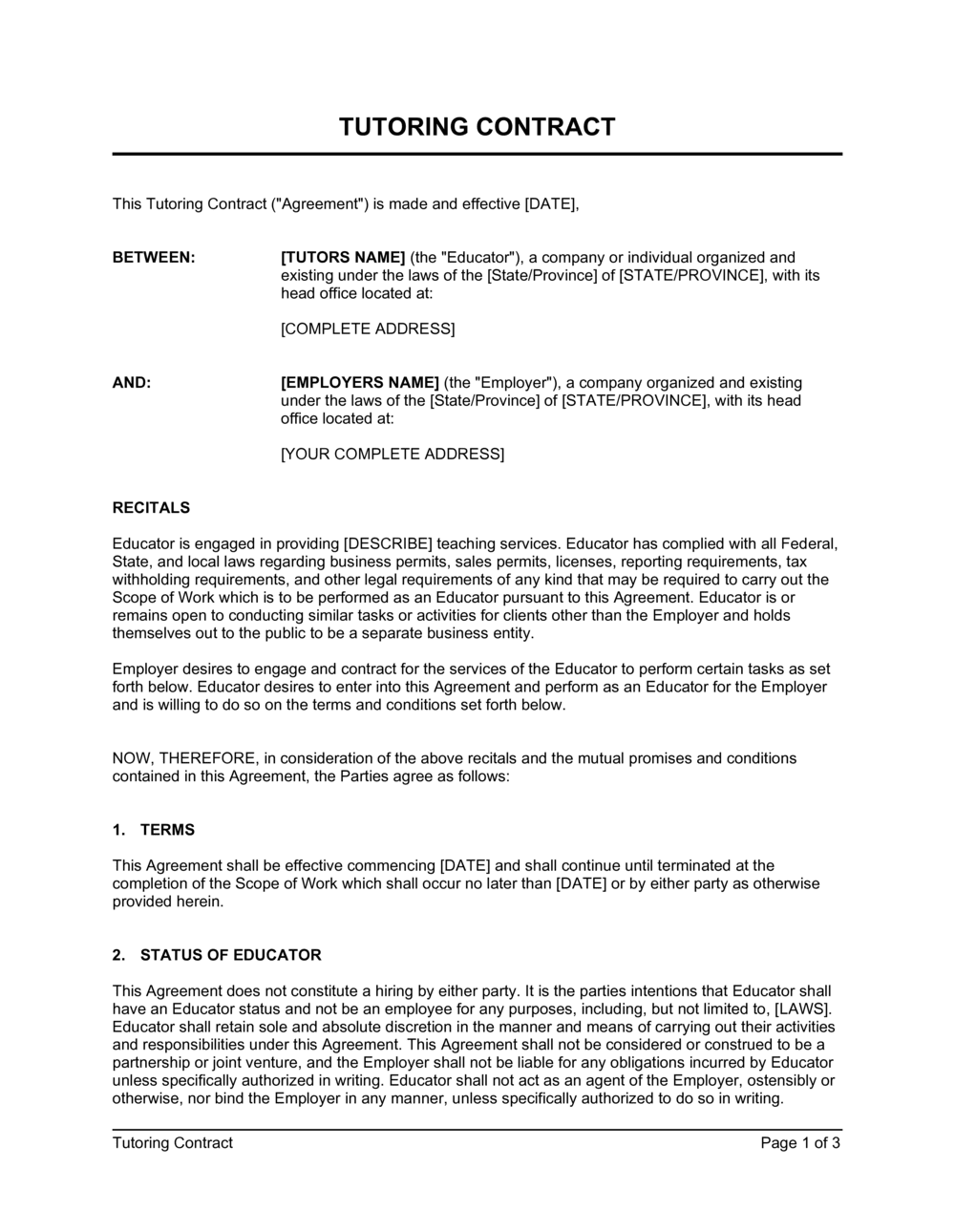 Business-in-a-Box's Tutoring Contract Template