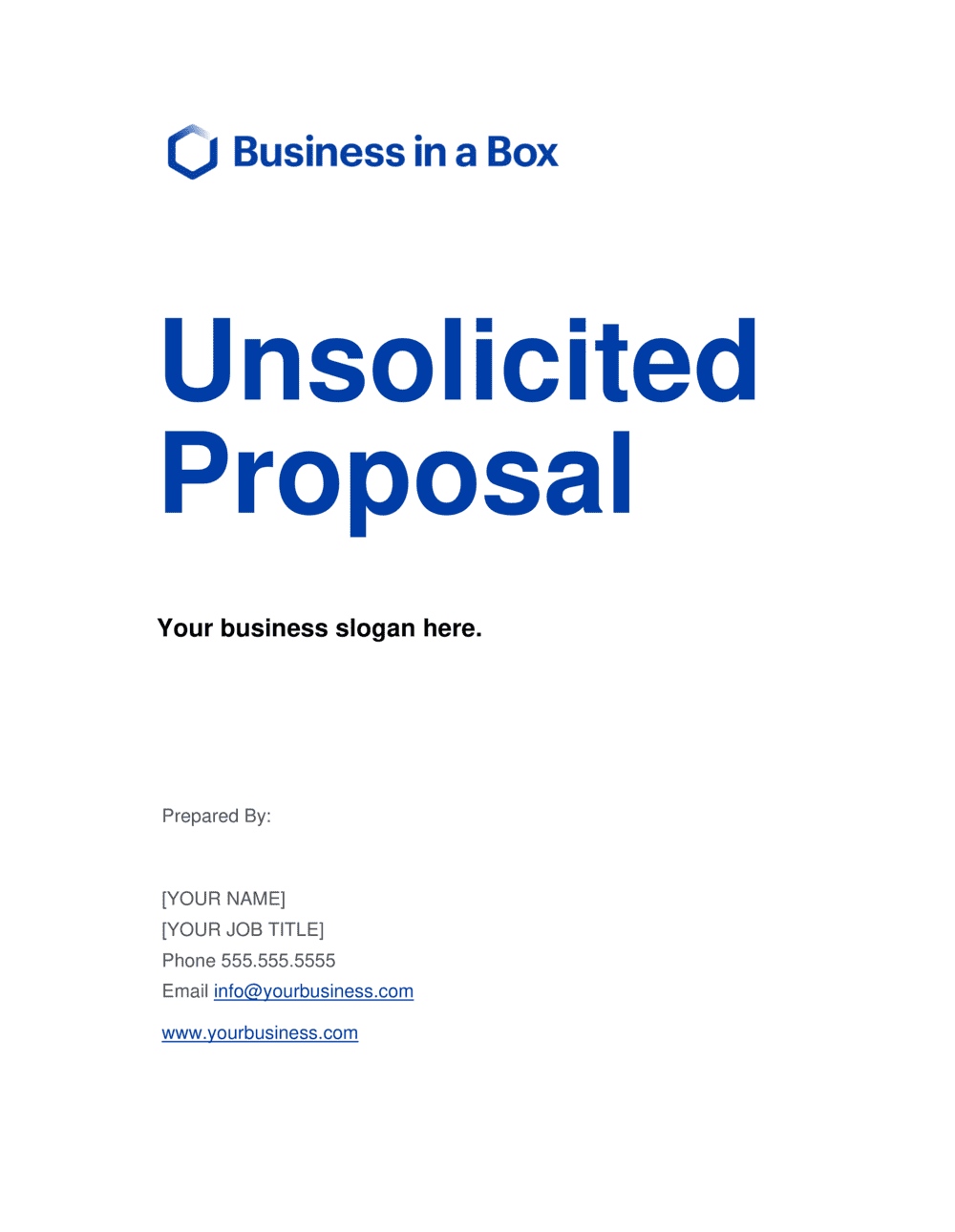 Business-in-a-Box's Unsolicited Proposal Template