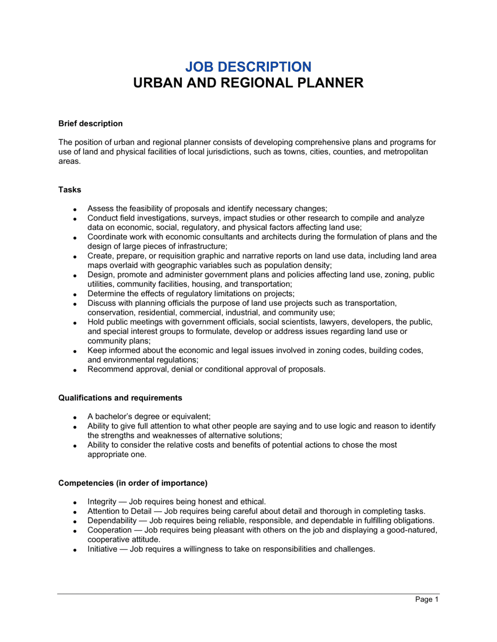 Business-in-a-Box's Urban and Regional Planner Job Description Template
