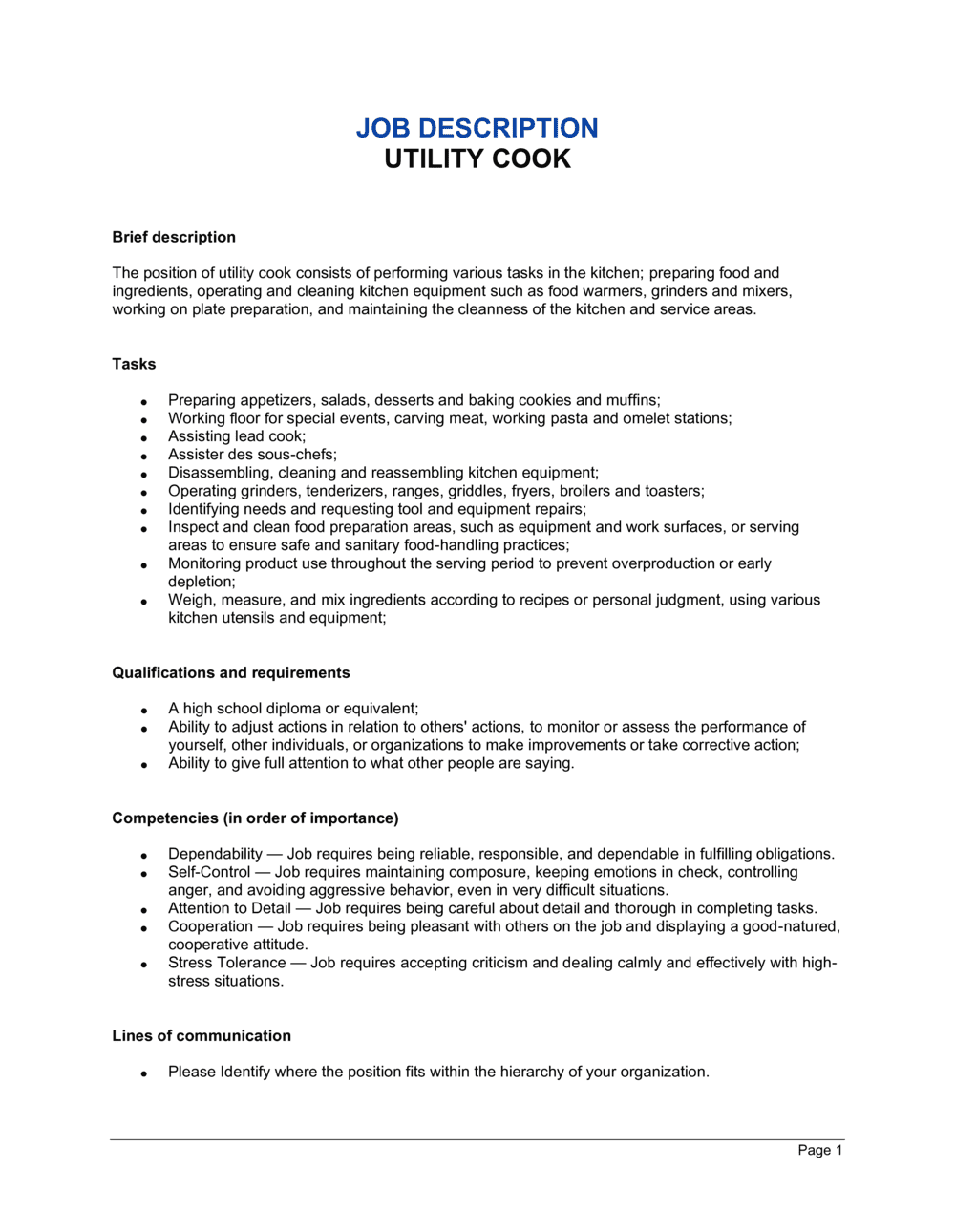 Business-in-a-Box's Utility Cook Job Description Template