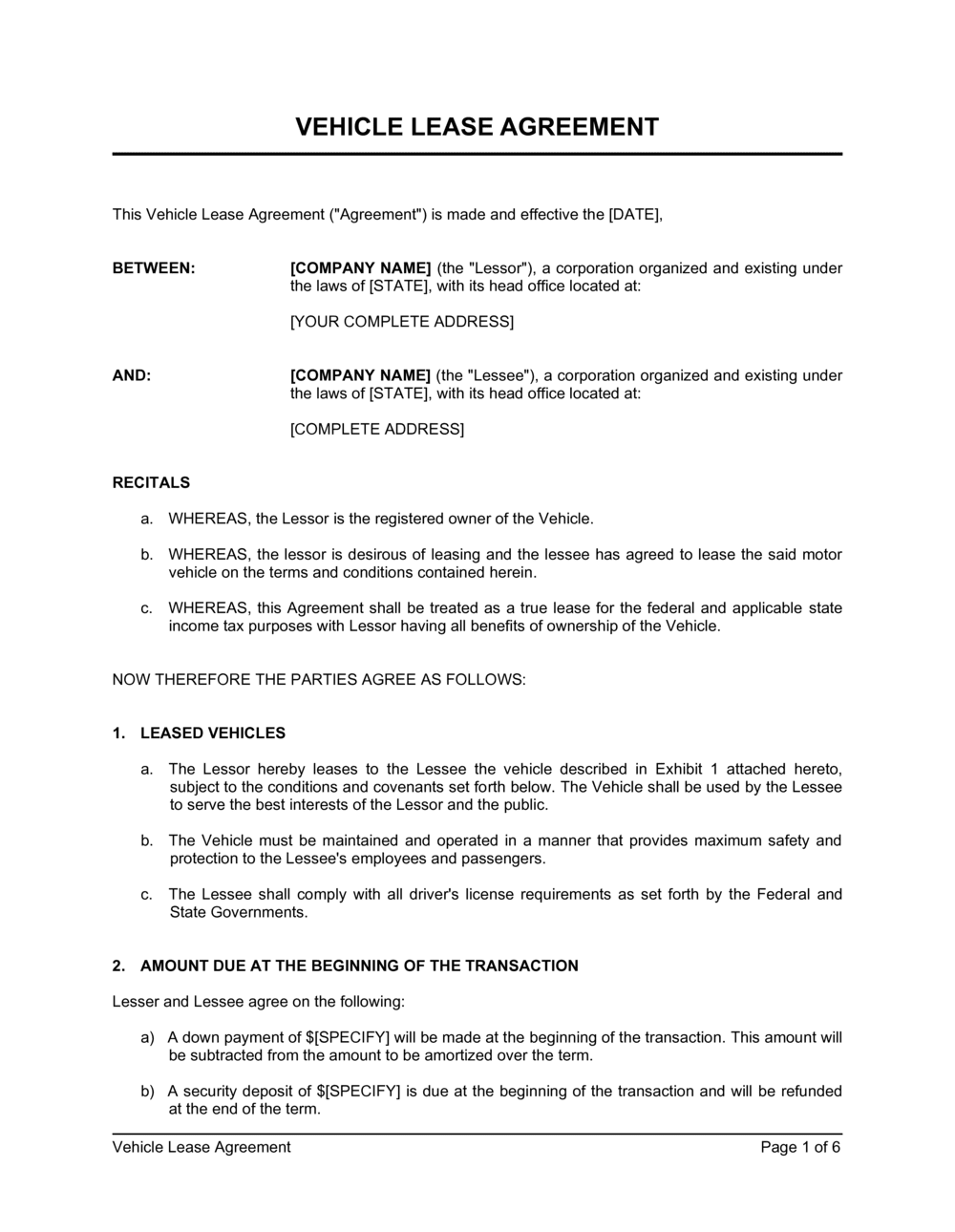 Business-in-a-Box's Vehicle Lease Agreement Template