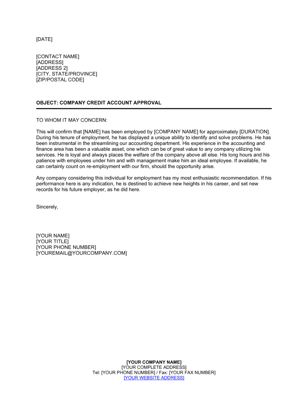 Letter Of Recommendation Sample For Former Employee from templates.business-in-a-box.com