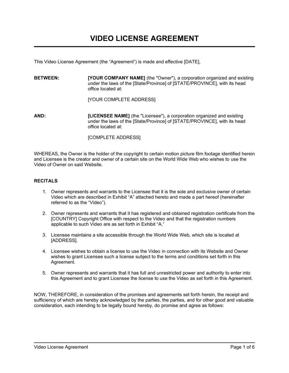 Business-in-a-Box's Video License Agreement Template