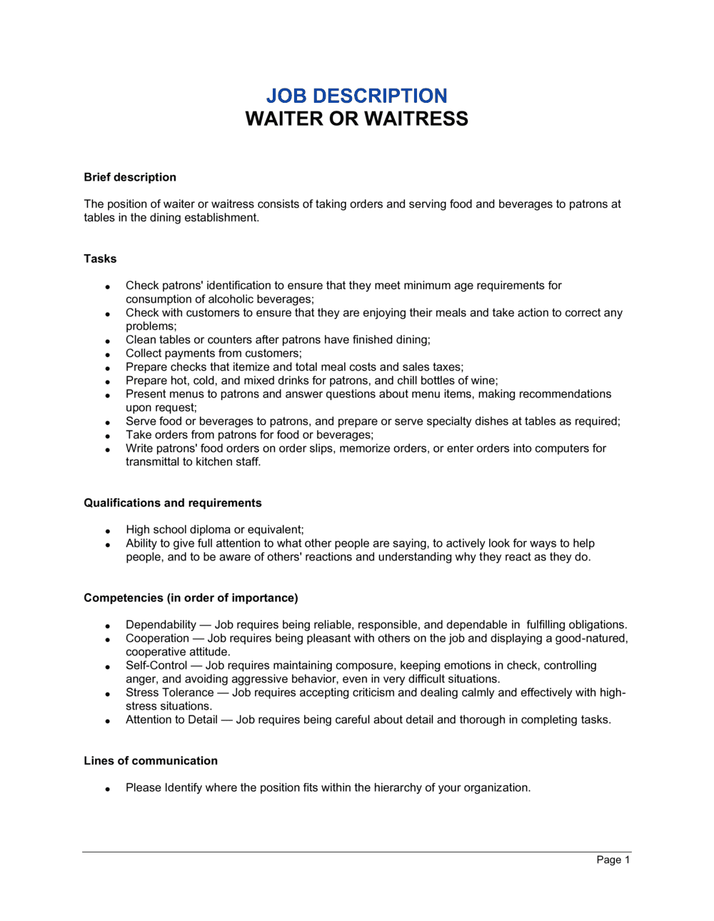 Business-in-a-Box's Waiter and Waitress Job Description Template