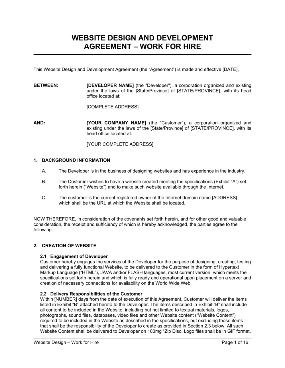 Business-in-a-Box's Website Design Agreement Template