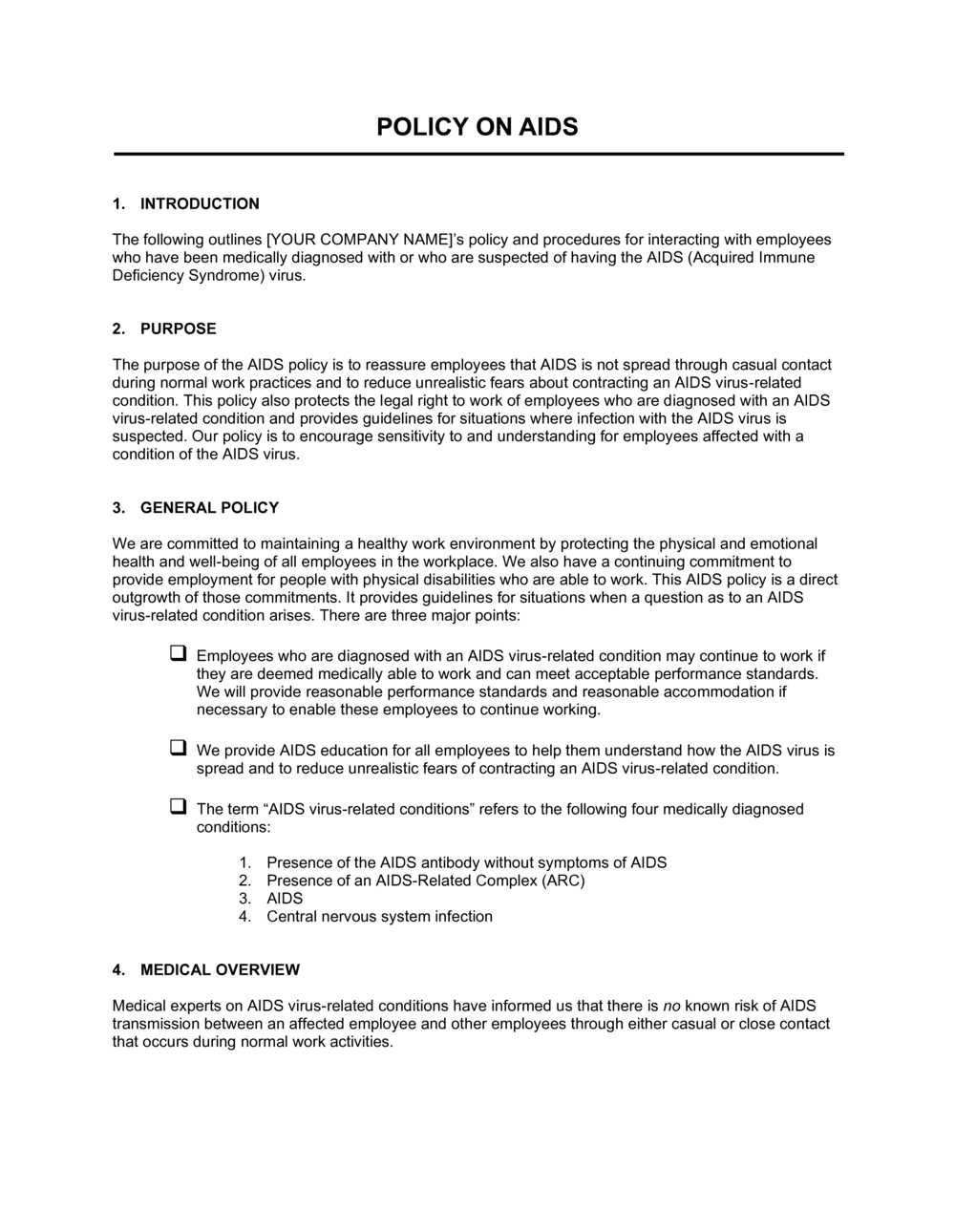 Business-in-a-Box's Workplace AIDS Policy Template