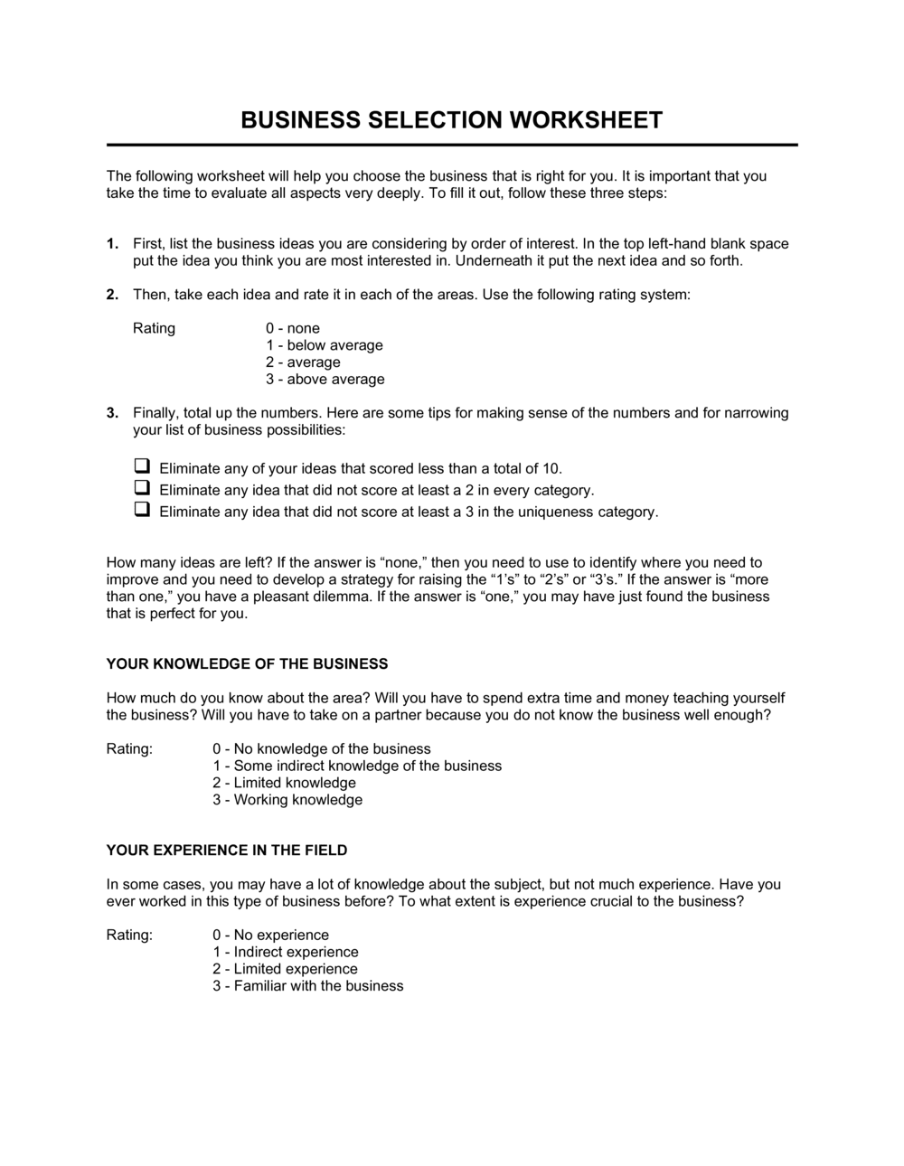 Business-in-a-Box's Worksheet Business Selection Template