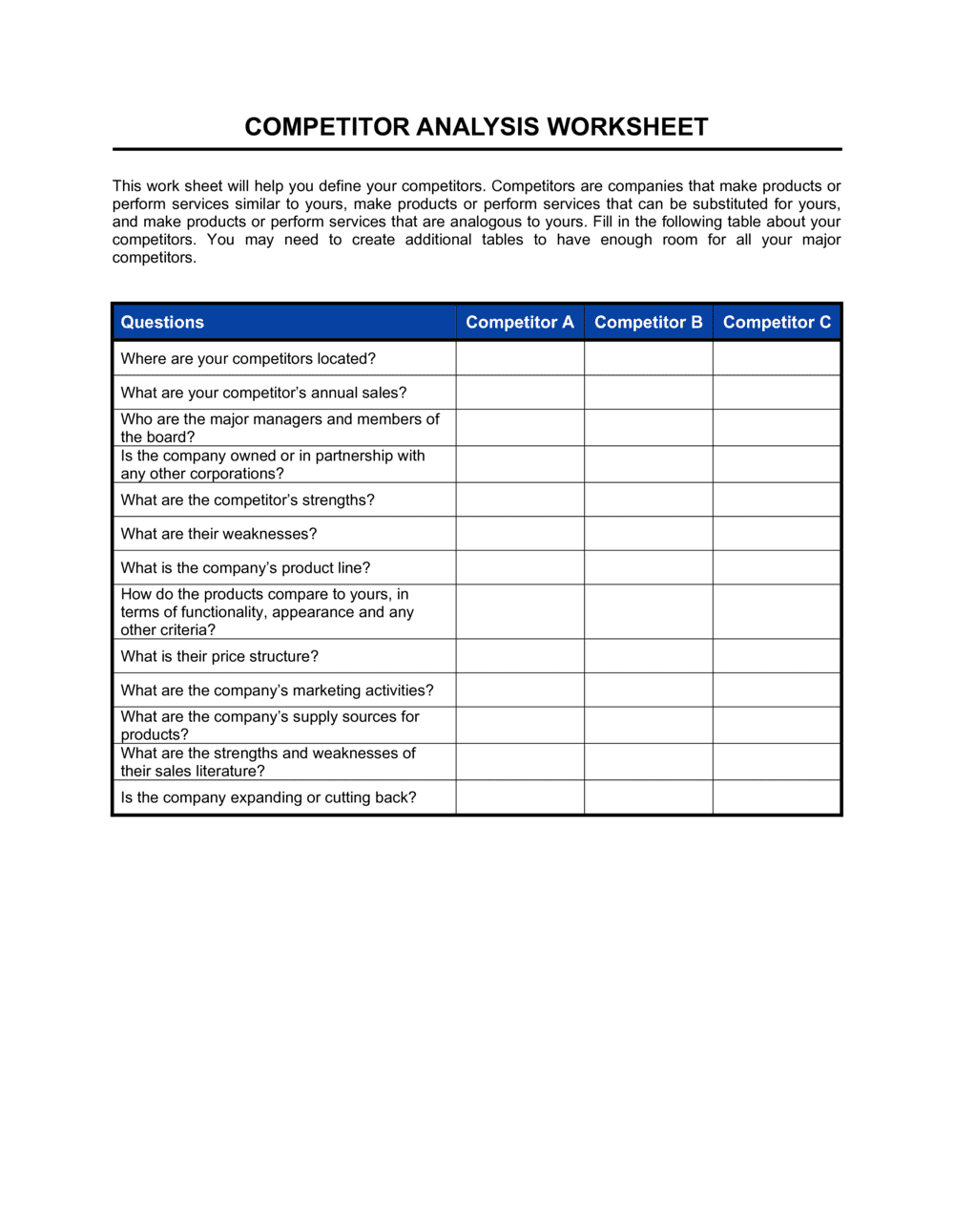 Business-in-a-Box's Worksheet Competitor Analysis Template