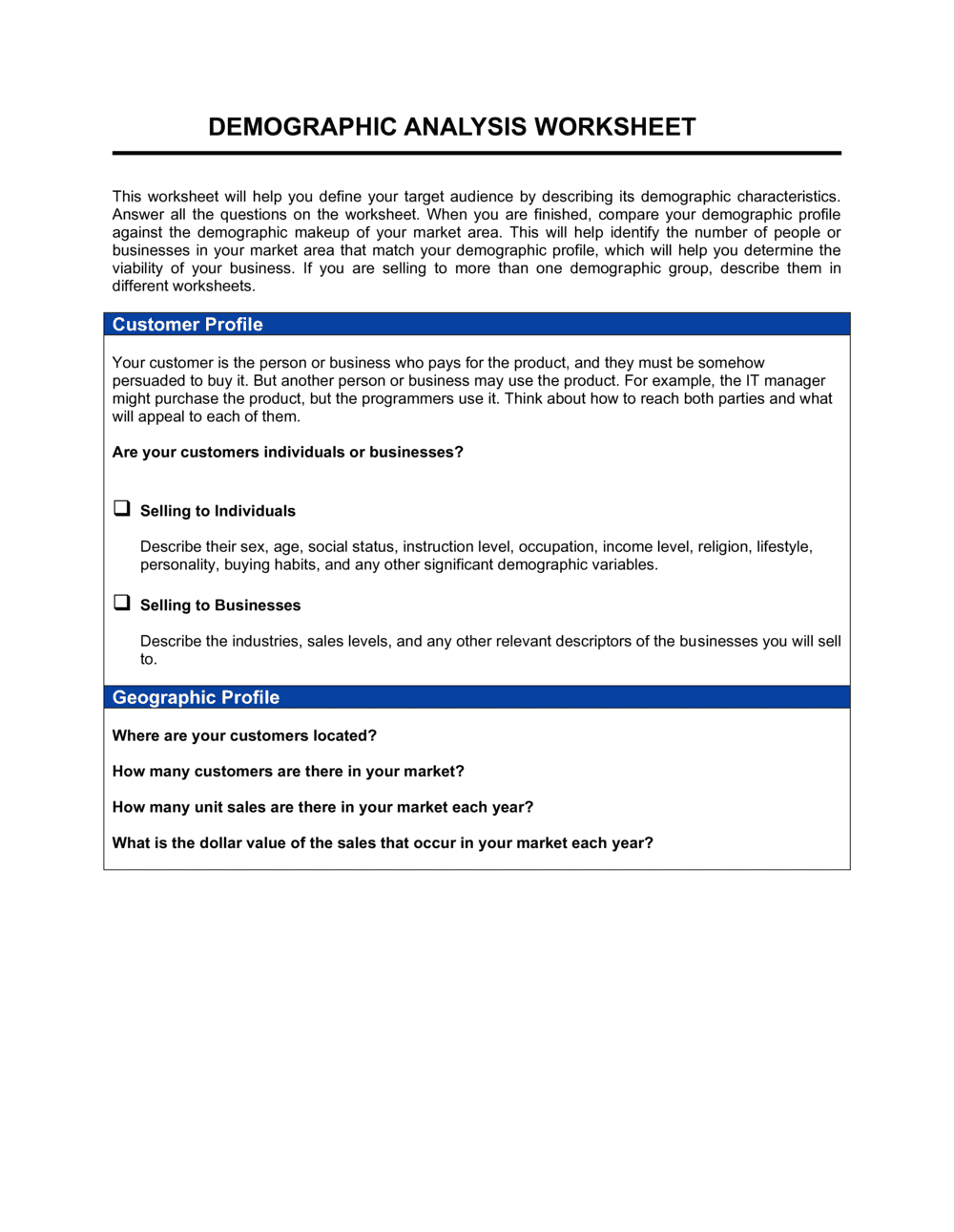 Business-in-a-Box's Worksheet Demographic Analysis Template