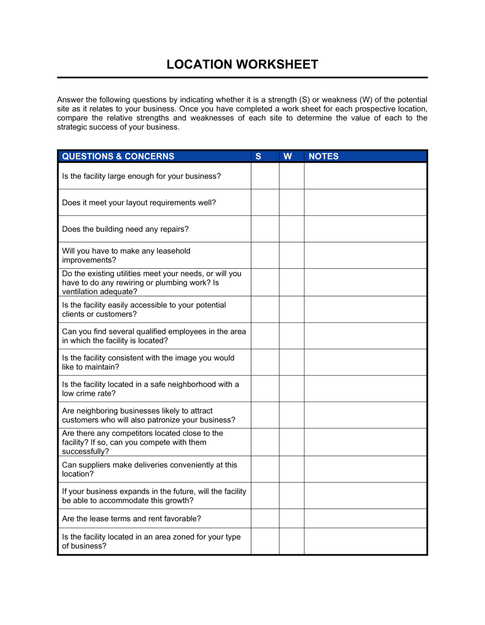 Business-in-a-Box's Worksheet Location Conditions Template