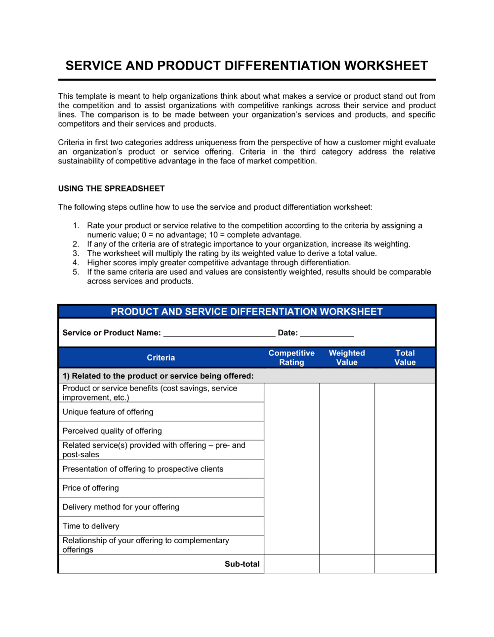 Business-in-a-Box's Worksheet Products and Services Differentiation Template