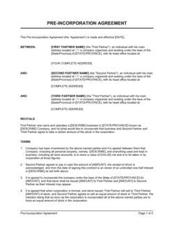 Pre-Incorporation Agreement