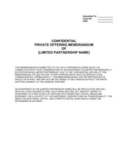 Private Placement Memorandum