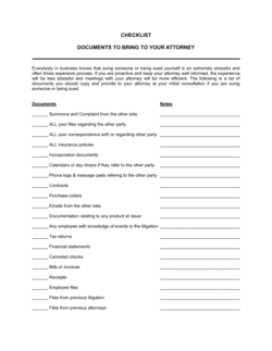 Checklist Documents to Bring to Your Attorney
