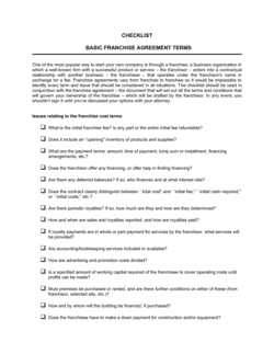 Checklist Basic Franchise Agreement Terms