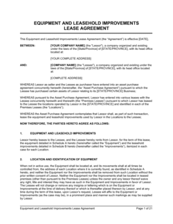 Equipment and Leasehold Improvements Lease Agreement Long