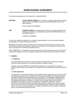 Warehousing Agreement