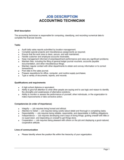 Accounting Technician Job Description