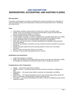 Bookkeeping, Accounting and Auditing Clerk Job Description