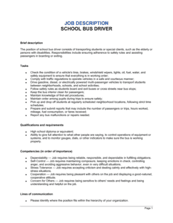 Bus Driver School Job Description