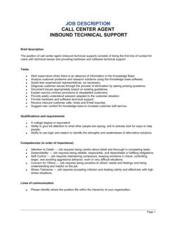Call Center Agent_Inbound_Technical Support Job Description