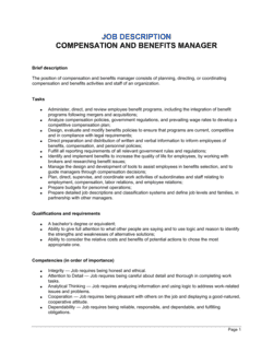 Compensation and Benefits Manager Job Description