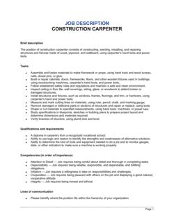 Construction Carpenter Job Description