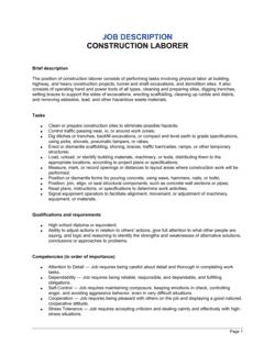 Construction Laborer Job Description