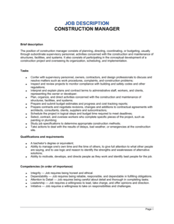Construction Manager Job Description