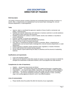 Director of Finance Job Description
