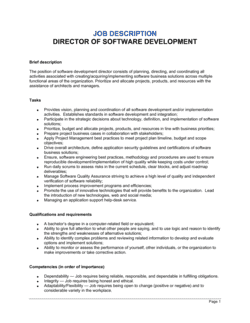 Director of Software Development Job Description