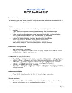 Driver Sales Worker Job Description