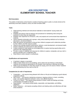 Elementary School Teacher Job Description