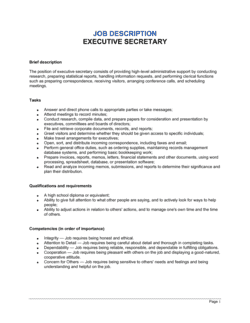Executive Secretary Job Description