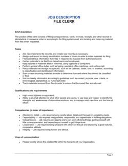 File Clerk Job Description