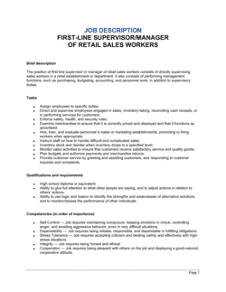 First-Line Supervisor or Manager of Retail Sales Workers Job Description