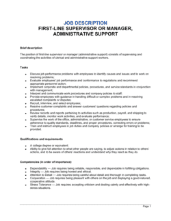 First-Line Supervisor or Manager, Administrative Support Job Description