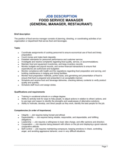 Food Service Manager (General Manager, Restaurant) Job Description