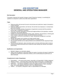 General and Operations Manager Job Description