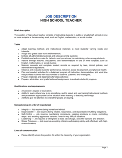 High School Teacher Job Description