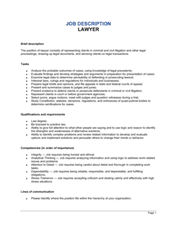 Lawyer Job Description